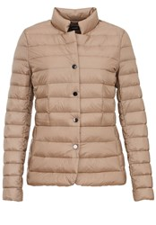 Hallhuber Down Jacket With Vertical Quilting Beige