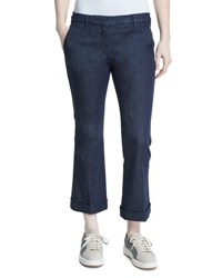 Brunello Cucinelli Cuffed Denim Kick Flare Jeans Dark Wash