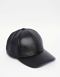 Asos Baseball Cap In Faux Leather And Suede Black