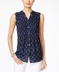 Charter Club Anchor Print Sleeveless Blouse Only At Macy's Intrepid Blue