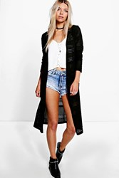 Boohoo Side Split Pointelle Festival Cardigan Black