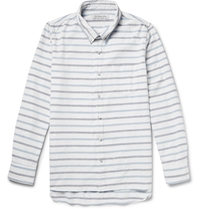 Remi Relief Slim Fit Striped Cotton Shirt White