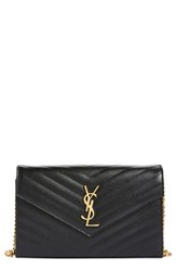 Women's Saint Laurent 'Large Monogram' Quilted Leather Wallet On A Chain