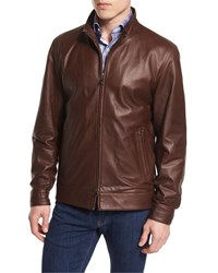 Peter Millar Summertime Napa Leather Bomber Jacket Truffle