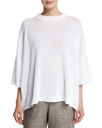 Eskandar 3 4 Sleeve Round Neck Linen Sweater White
