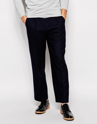 Asos Wide Leg Cropped Smart Trousers Navy