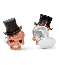 Deakin And Francis Skull And Top Hat Rose Gold Plated Cufflinks Rosegold