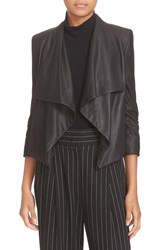 Alice Olivia Women's 'Warren' Short Drape Front Leather Jacket