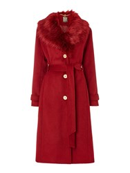 Biba Detachable Faux Fur Collar Wool Mix Belted Coat Berry