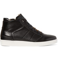 Want Les Essentiels Lennon Panelled Leather High Top Sneakers Black