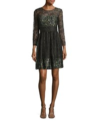 French Connection Floral Lace Fit And Flare Dress Brown