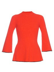 Proenza Schouler Contrast Trim Ribbed Knit Sweater Red