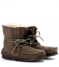 Isabel Marant Eve Suede Moccasin Ankle Boots Brown
