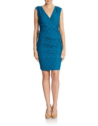 Adrianna Papell Side Ruched Lace Dress Deep Turquoise