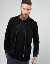 Selected Homme Suede Bomber Black