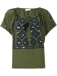 Tory Burch Drawstring Neck Embroidered Blouse Green