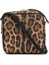 Dolce And Gabbana Small Leopard Print Crossbody Bag Black