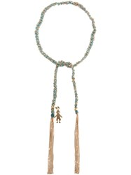 Carolina Bucci 'Lucky' Woven Gold And Silk Bracelet Blue