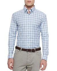 Ermenegildo Zegna Plaid Long Sleeve Sport Shirt Blue