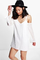 Boohoo Mia All Over Lace Cold Shoulder Shift Dress Ivory