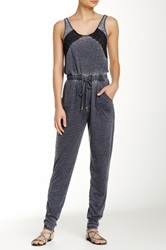 Acid Wash Lace Trim Jumpsuit Black