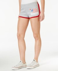 Hybrid Juniors' Pull On Graphic Active Shorts Heather Grey Red