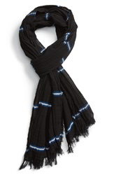 Rag And Bone 'Cabot' Stripe Cotton Scarf Black