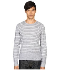 Vince Sporty Jaspe Striped Crew Neck Heather Herring Men's Sweater Gray