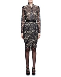Alexander Mcqueen Long Sleeve Scalloped Paisley Lace Wrap Dress Black