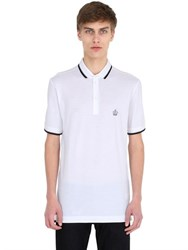 Dolce And Gabbana Crown Embroidered Cotton Pique Polo
