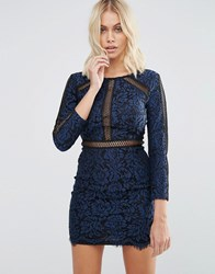 Goldie Saving Grace Floral Lace Dress With Trim Detailing Blue
