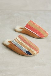 Anthropologie Thea Embroidered Cozy Slippers Honey