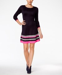 Jessica Howard Striped Border Sweater Dress Navy Pink