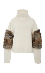 Sally Lapointe Cross Fox Fur Trimmed Turtleneck Sweater White