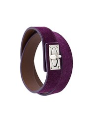 Givenchy 'Shark Lock' Wrap Bracelet Pink And Purple