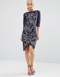 Jessica Wright 3 4 Sleeve Lace Pencil Dress With Contrast Lining Navy Nude