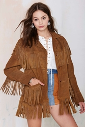 Nasty Gal Vintage Canyon Call Suede Fringe Jacket
