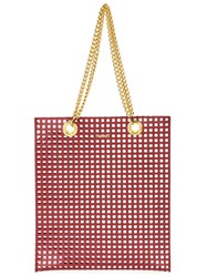 Muveil Grid Print Tote Red
