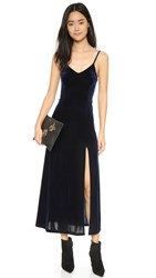 Only Hearts Club Long Velvet Slip Dress Navy