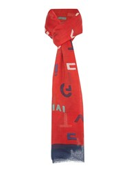 Tommy Hilfiger Mixed Text Scarf Red