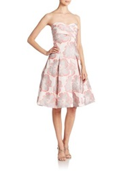 Aidan Mattox Floral Print Strapless Jacquard Party Dress Ivory Multi