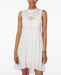 Trixxi Juniors' Lace Trim High Low Shift Dress Ivory
