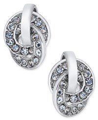 Charter Club Silver Tone Pave Interlocking Loop Earrings Only At Macy's