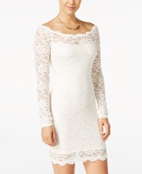 Jump Juniors' Off The Shoulder Lace Bodycon Dress Ivory
