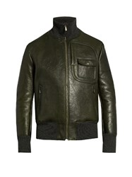 Bottega Veneta Funnel Neck Leather Jacket Khaki