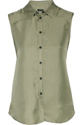 Rag And Bone Excel Silk Chiffon Top Green