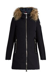 Moncler Dimitra Fur Trimmed Down Coat Navy