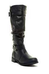 West Blvd Shoes Madras Faux Leather Slouchy Riding Boot Black