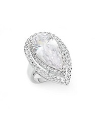 Cz By Kenneth Jay Lane Double Pear White Stone Ring Silver