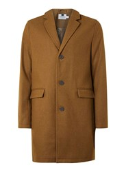 Topman Tobacco Brown Wool Rich Overcoat